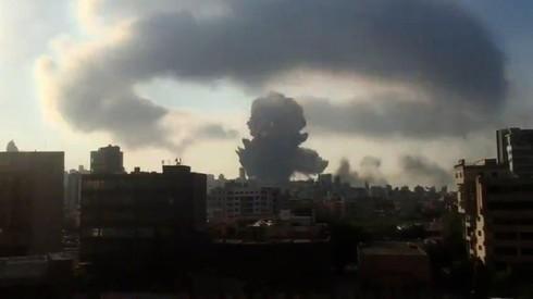 Momento de la explosión en Beirut.