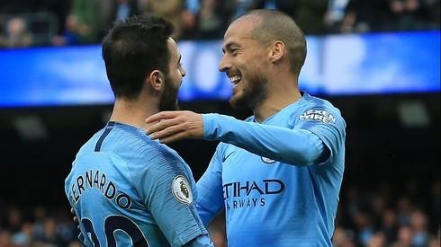 Bernardo Silva de Portugal y David Silva de España, jugadores de Manchester City.