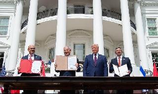 Acuerdo Abraham EAU Bahrein Escalera Trump Netanyahu