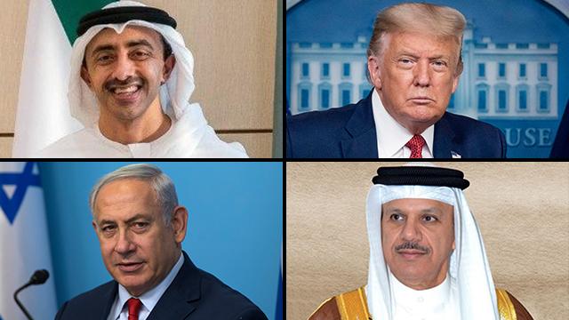 Se darán la mano: Abdullah Bin Zayed (EAU), Donald Trump (EE.UU.), Benjamín Netanyahu (Israel) y Abd Al Latif Al Ziani (Bahrein).