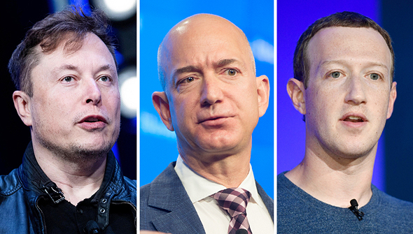 Elon Musk, Jeff Bezos y Mark Zuckerberg.