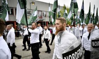 Manifestación del Movimiento de Resistencia Nórdico en Suecia.