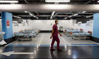 La sala de coronavirus instalada en el aparcamiento subterráneo del hospital Rambam comenzó a funcionar hoy.