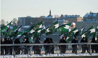 Simpatizantes del Movimiento de Resistencia Nórdico neonazi se manifiestan contra los migrantes en el centro de Estocolmo