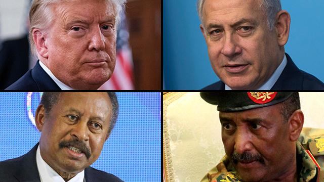 Donald Trump, Benjamín Netanyahu, el primer ministro de Sudán, Abdallah Hamdok, y el jefe del Consejo Soberano sudanés, Abdel Fattah Abdelrahman Burhan.