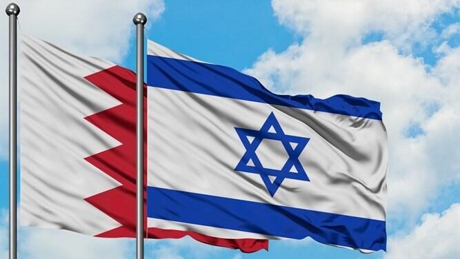 Las banderas de Israel y Bahrein.