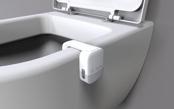 El dispositivo se puede enganchar fácilmente en cualquier inodoro.