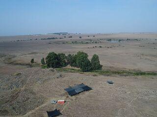 Vista aérea de la zona de excavación.