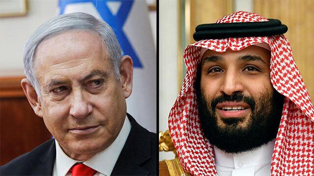 El primer ministro Benjamín Netanyahu y el príncipe heredero saudita Mohammad bin Salman.