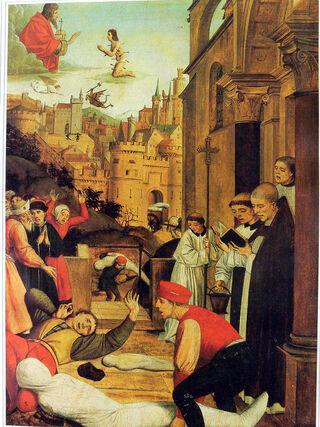 Ilustración que representa la Plaga de Justiniano.