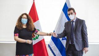 La ministra de Desarrollo e Inclusión Social de Perú, Silvana Vargas, y el embajador de Israel en Perú, Asaf Ichilevich.