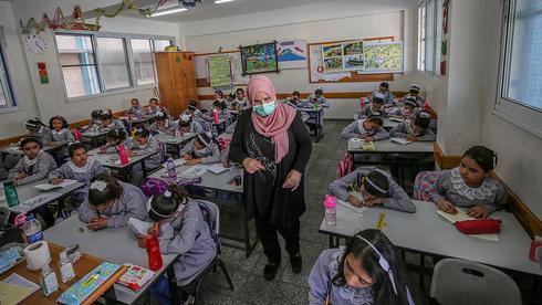 Estudiantes palestinos en Gaza.