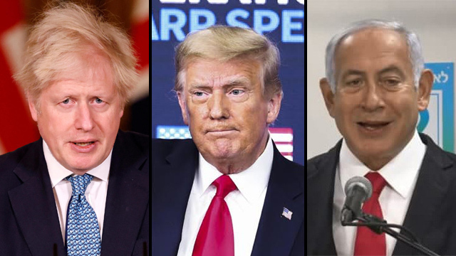 Boris Johnson, Donald Trump y Benjamín Netanyahu.