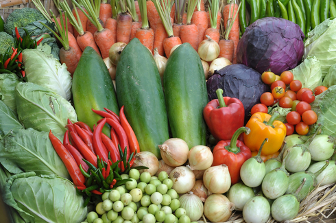 Alguns dos ingredientes da dieta mediterrânea verde.
