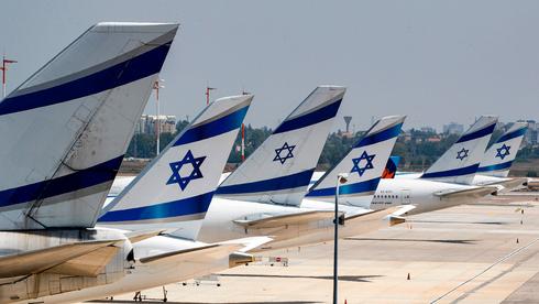 Aviones de El Al estacionados en el aeropuerto Ben Gurion después de que se suspendieran los vuelos durante el mes de julio.