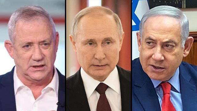 El ministro de Defensa Benny Gantz, el presidente ruso Vladimir Putin, el primer ministro Benjamín Netanyahu.