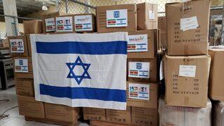 Las cajas con el equipo de protección enviadas por Israel.