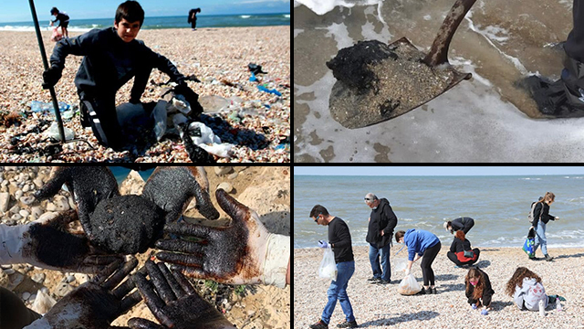 Voluntarios limpian de alquitrán las playas israelíes.