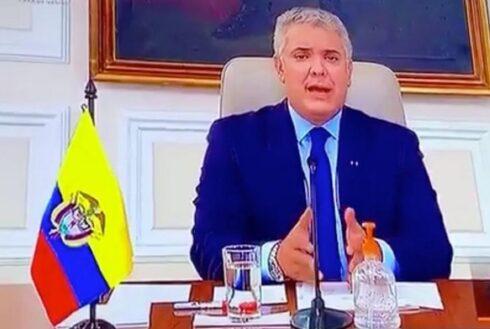 El presidente colombiano en el video difundido por el gobierno de su país.