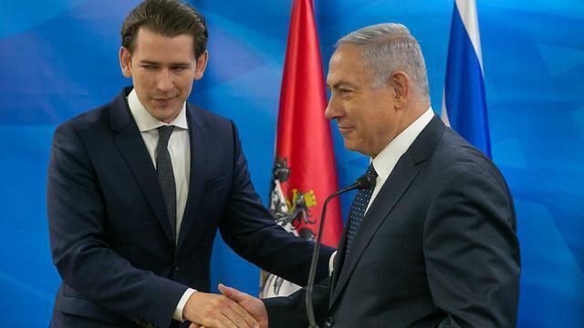 El canciller de Austria, Sebastian Kurz, y el primer ministro de Israel, Benjamín Netanyahu.