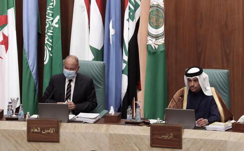 Ahmed Aboul Gheit durante una reunión de la Liga Árabe, en marzo de 2021.