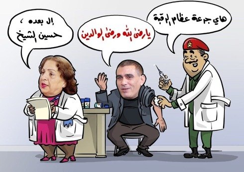 Una caricatura refleja el enojo de los palestinos después de que altos funcionarios fueran vacunados contra el coronavirus.