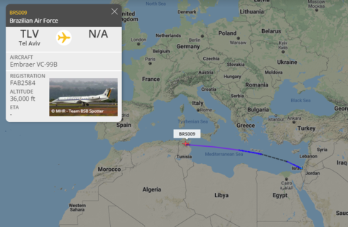 Los datos de seguimiento muestran el vuelo de Israel a Argelia.