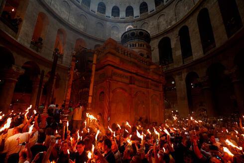 Ceremonia del Fuego Santo en la Iglesia del Santo Sepulcro en Jerusalén en 2018.