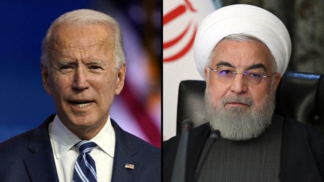 El presidente estadounidense Joe Biden y el presidente iraní Hassan Rouhani.