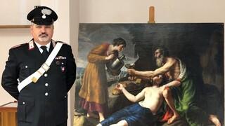 Cuadro de Poussin recuperado por la Policía de Italia.