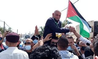 Rushdie Abu Mukh, vitoreado en la ciudad israelí de Baqa al-Gharbiya.