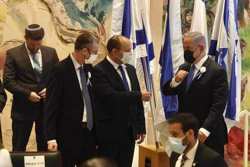 Desde la  izquierda: Bezalel Smotrich, líder de Sionismo Religioso; el presidente de la Knesset Yariv Levin; el líder de Yamina, Naftali Bennett; y el primer ministro Benjamín Netanyahu, en la apertura del parlamento el martes.