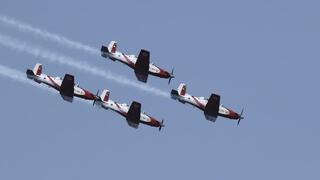 Ejercicio de exhibición aérea en Israel.