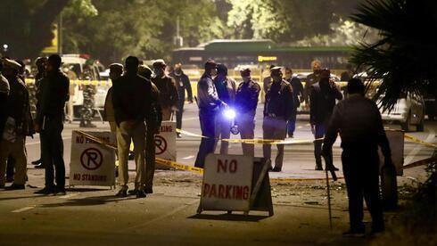 Lugar de la explosión frente a la embajada israelí en Delhi en enero que se atribuyó a un grupo respaldado por Irán.