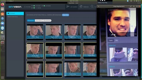 Interfaz del software de reconocimiento facial de AnyVision.