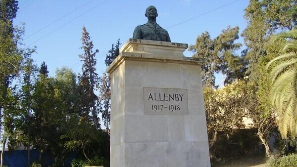 Estatua del general Edmund Allenby en el parque de Beer Sheva que lleva su nombre.