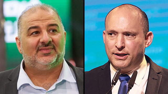 El líder de Raam, Mansour Abbas, y Naftalí Bennett, líder del derechista Yamina.