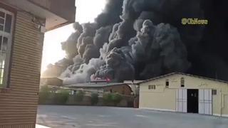 Incendio en la planta química en Qom, Irán.