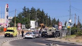 Escena del intento de ataque en el cruce Gush Etzion.