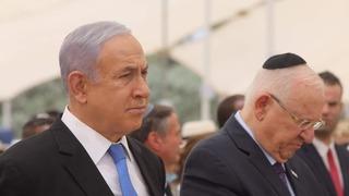 El primer ministro Benjamín Netanyahu y el presidente de Israel, Reuven Rivlin, durante el acto de recordación de los fallecidos en la Operación Moisés.