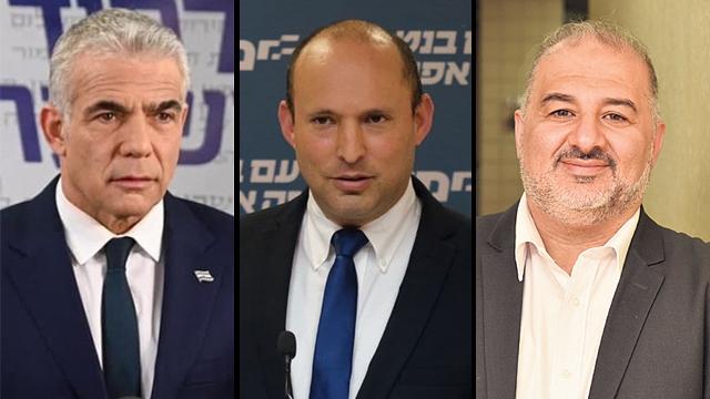 Yair Lapid, líder de Yesh Atid, Naftali Bennett, presidente de Yamina, y Mansour Abbas, presidente de Raam.