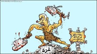 """Caricatura de Al-Araby Al-Jadeed. Netanyahu representado como un hombre de las cavernas aplasta Gaza. """"El derecho de Israel a defenderse"""", ironiza el cartel de la derecha."""