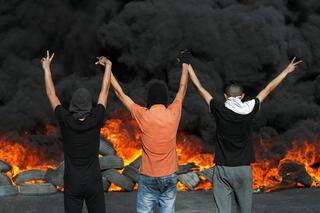 Manifestantes palestinos en Cisjordania.