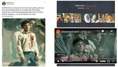 Fotograma de una película india difundido como un niño palestino disparado por el Ejército de Israel.