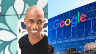 Kamau Bobb y el edificio de Google en Silicon Valley.