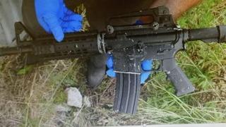 M-16, una de las armas encontradas en el lugar del tiroteo.