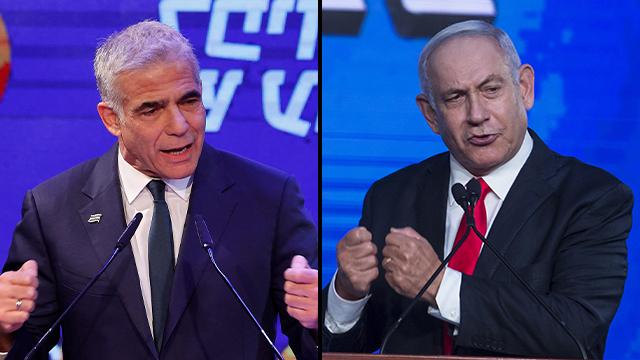 El ministro de Asuntos Exteriores, Yair Lapid, y el líder de la oposición, Benjamin Netanyahu.