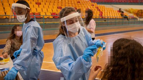 Centro de pruebas del coronavirus en Binyamina.