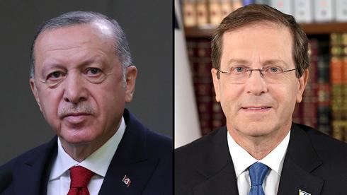 El presidente turco, Recep Tayyip Erdogan, y el presidente israelí, Isaac Herzog.