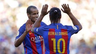 Rivaldo y Ronaldinho, dos leyendas del fútbol mundial que jugarán el próximo martes en Israel.